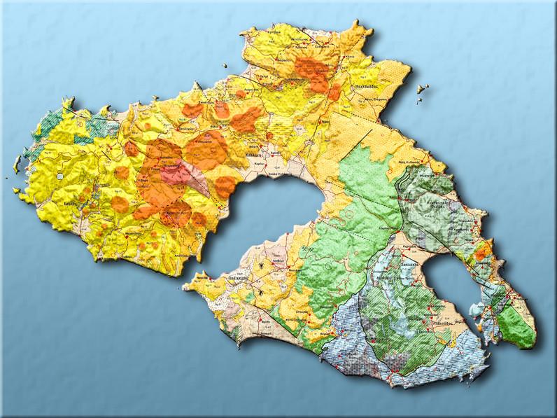 Die geologische Karte der Insel Lesbos sollte man sich im Museum des versteinerten Wald in Sigri kaufen!