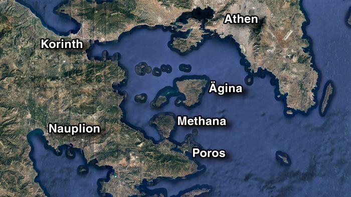 Karte des Saronischen Golfs