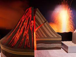 Eines der Diagramme im Museum über Vulkane
