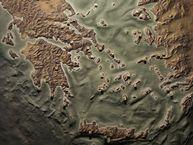 Morfologische Karte Griechenlands mit der Position wichtiger geologischer Stätten, wie z.B. Vulkanen
