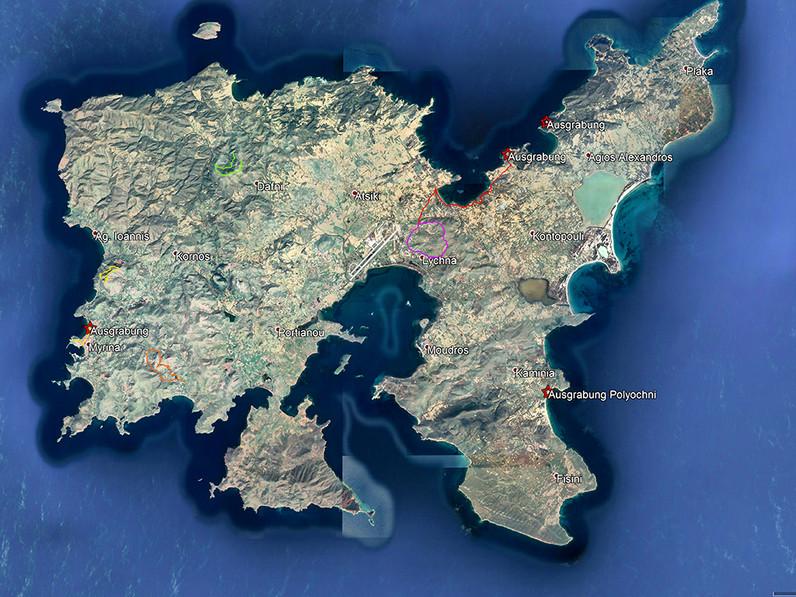 Die geplanten Touren auf Limnos können sich noch ändern, aber hier schon mal ein erster Überblick! (c) Google Earth View
