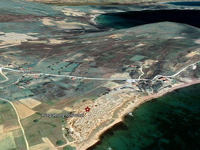 Satelitenbild der Ausgrabung Poliochni. (c) Google Earth View