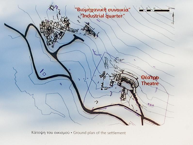 Plan vom Theater und der antiken Industriezone in Thorikos.