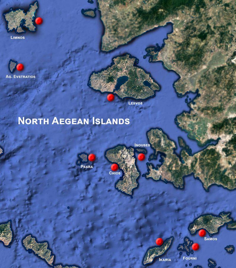 Google Earth View der nördlichen Ägäis mit den wichtigsten Inseln