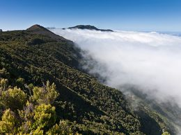 Clouds are flowing over the rim of El Golfo valley