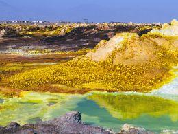 Colourful salt deposits and pools at Dallol volcano