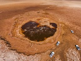 Aerial photo of an boiling salt pool
