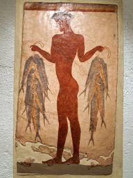 "Wandmalerei ""Fischer"", 3D-Rekonstruktion einer Wandmalerei aus Akrotiri"
