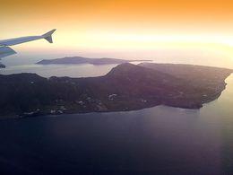 Flight over Santorini island