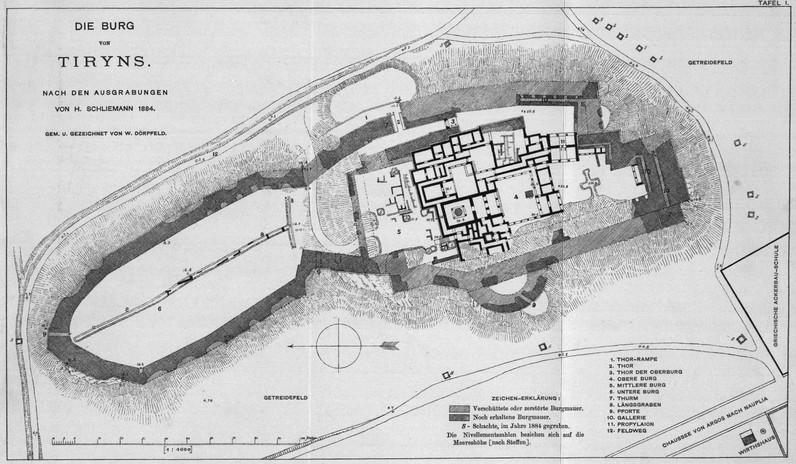 Alte, archäologische Skizze der Ausgrabung