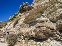 Ein geologischer Aufschluß bei Akrotiri. (c) Tobias Schorr