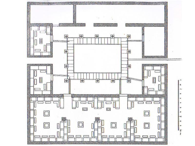 Lageskizze des Asklepions von Troizen und seinem Innenhof, Gabriel Welter 1941