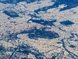 Stadtzentrum von Athen aus der Luft