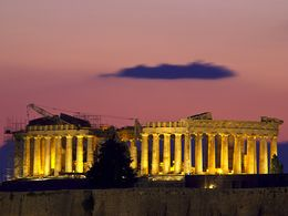 The temple of Athena Parthenon in the evening