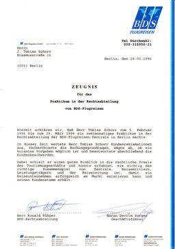 Τα πρακτικά του Τωβίας Σώρρος στο νομικό τμήμα του tour operator BDS στο Βερολίνο