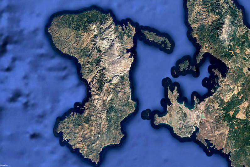 Satellitenbild der Insel Chios von Google Earth View