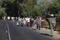 Die Fahrgeschwindigkeit auf äthiopischen Strassen muss sich immer dem Verkehr anpassen. Und zum Verkehr gehören auch Menschen und Tiere. (c) Tobias Schorr