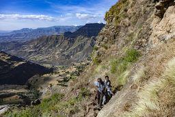 Samson und sein Fahrer an dem steilen Pfad nach oben. (c) Tobias Schorr
