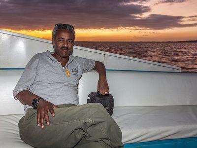 Samson Teshome Demena auf dem Tana-See bei Bahir Da