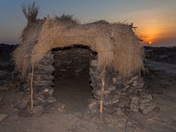 Einfache Hütte am Basis-Camp des Erta Ale Vulkans
