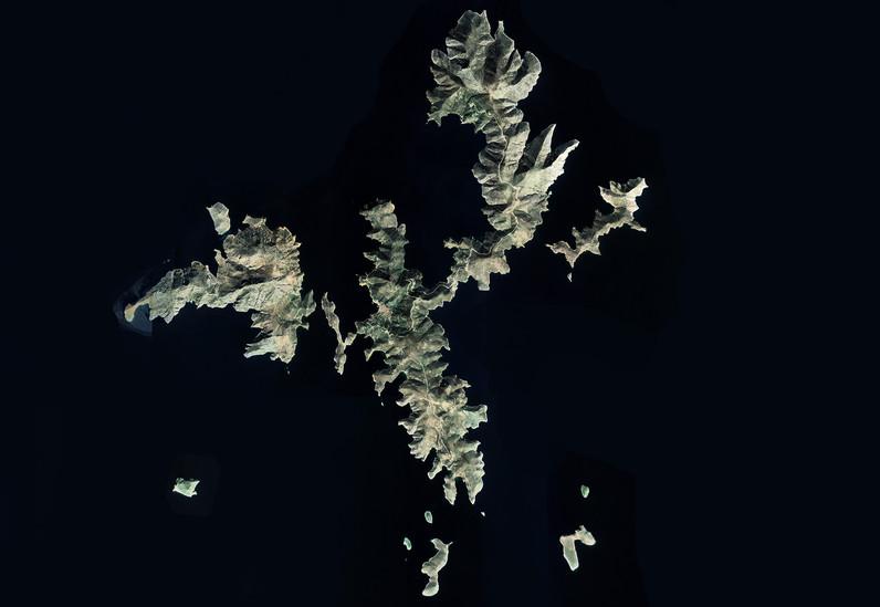 Satellitenbild der Insel Fourni von Google Earth View
