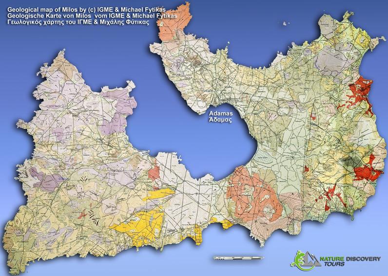 Die geologische Karte der Vulkane der Insel Milos vom griechischen, geologischen Amt IGME & Michael Fytikas