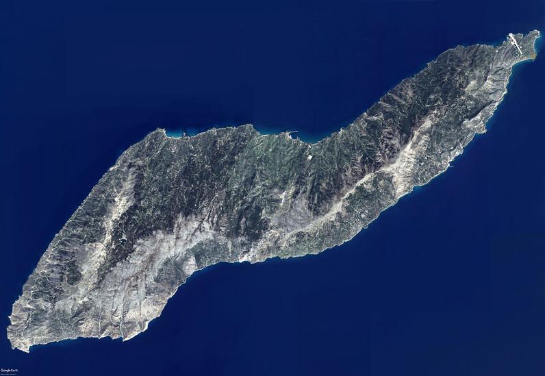 Satellitenbild der Insel Ikaria von Google Earth View