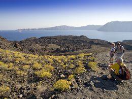 Blick auf einen der Krater der Insel Nea Kameni (c) Tobias Schorr