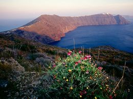 Evening view on the most beautiful walking route along the caldera of Santorini