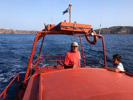 Sostis Arvanitis mit seinem Boot
