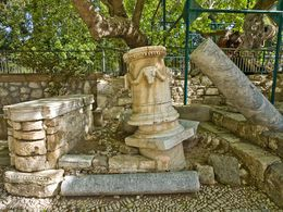 Ancient columns at the platane of Hippocrates in the down town of Cos