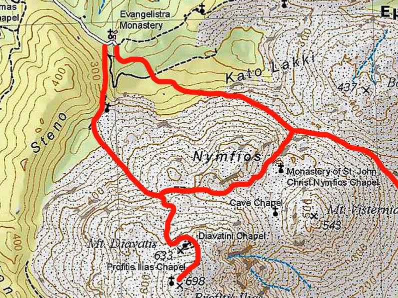 Karte mit den Wanderwegen zum Nymphios-Tal und zum höchsten Gipfel der Insel. (c) ETH-Zürich