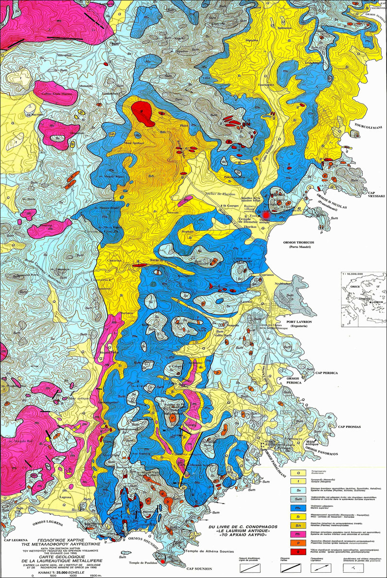 Eine Geologische Karte der Region. Sogar magmatische (vulkanische) Gesteine gibt es in der Region.