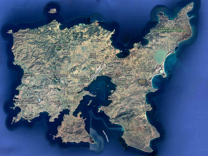 Google Earth Satellitenfoto von Limnos