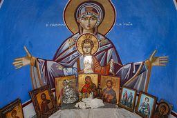 Wandfreske in der Kapelle Agios Panteleimon. (c) Tobias Schorr