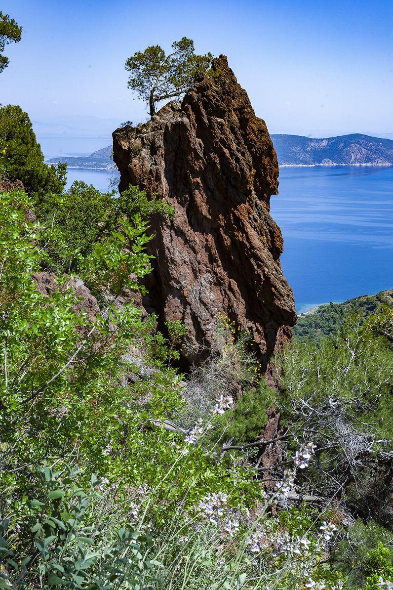 Dieser Fels ist quasi das Maskottchen des historischen Vulkans von Methana. (c) Tobias Schorr