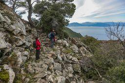 Oben am Vulkan gibt es eine tolle Aussicht auf die sekundären Lavaströme und den Saronischen Golf. (c) Tobias Schorr