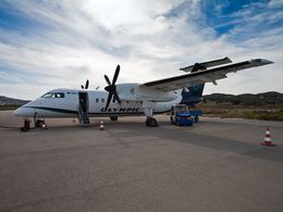 Our plane to Milos, the Bombaridier DHC-8-201