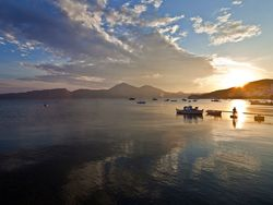 Evening atmosphere at the bay of Milos