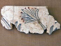 Rest einer prähistorischen Wandmalerei einer Strandlilie (c) Tobias Schorr