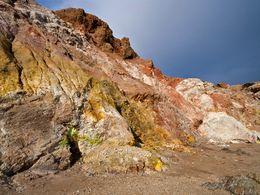 Die durch Mineralsalze veränderten Felsen