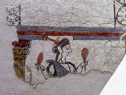 Mykenisches Fresko aus einem Heiligtum