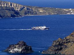 Blick auf das kleine Inselchen Agios Nikolaos bei Oía. (c) Tobias Schorr