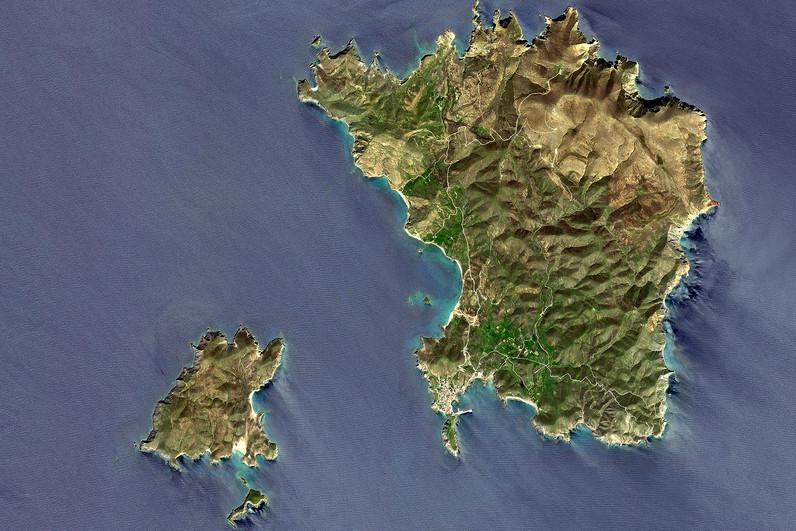 Satellitenbild der Insel Psará durch Google Earth View