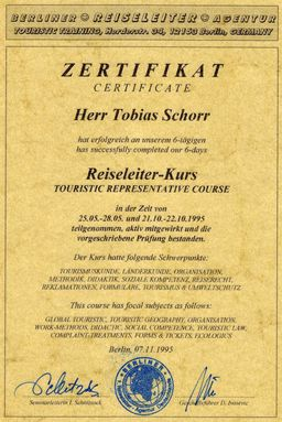 German certification as a tour guide