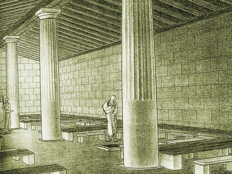 Rekonstruktionszeichnung von Gabriel Welter 1941, die den Innenhof des Asklepions zeigt.