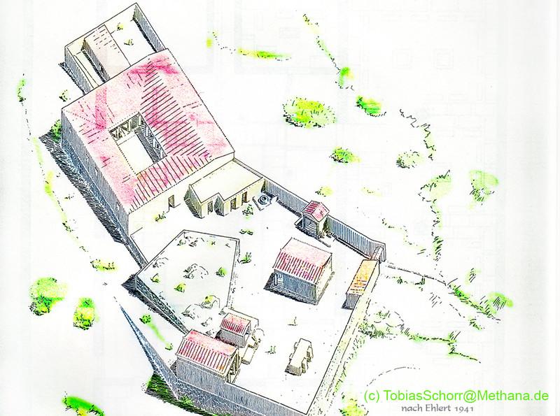 So kann man sich das Akslepion ungefähr vorstellen. Zeichnung von Ehlert 1941, coloriert (c) Tobias Schorr