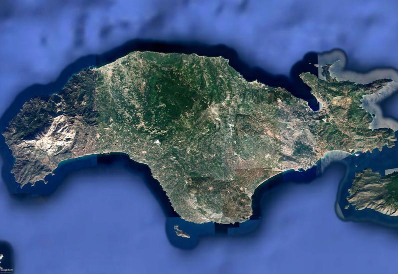 Satellitenbild der Insel Samos von Google Earth View