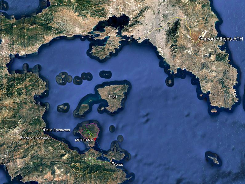 Die Lage der Region am Westrand des Saronischen Golfs bei Athen.