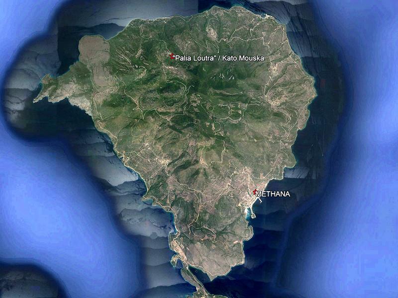 Lage auf der Halbinsel Methana